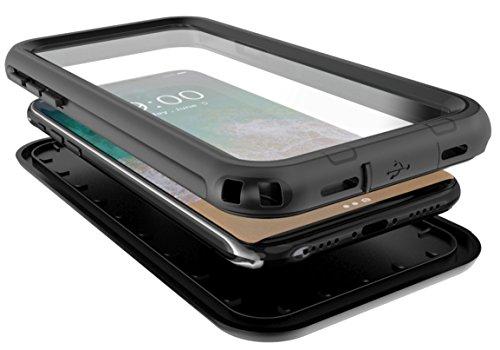 iPhone X Waterproof Case SunRemex Full Body Protective and Snowproof Shockproof Dirtproof IP68 Certified Waterproof Design for Apple iPhone X (Black)