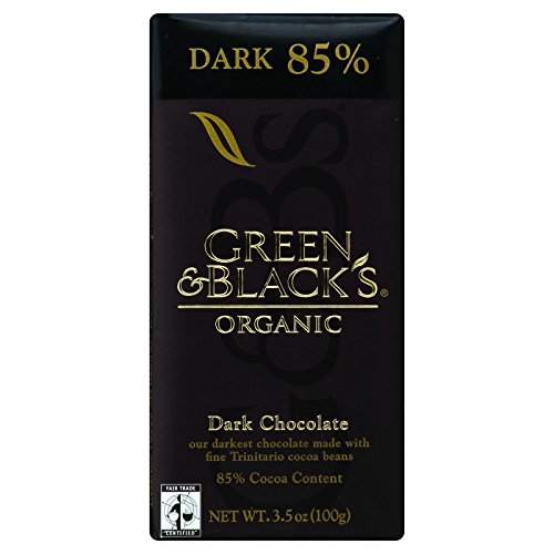 Dark Organic Blacks Chocolate (Green and Blacks Organic Chocolate Bars - Dark Chocolate - 85 Percent Cacao - 3.5 oz Bars - Case of 10-95%+ Organic -)