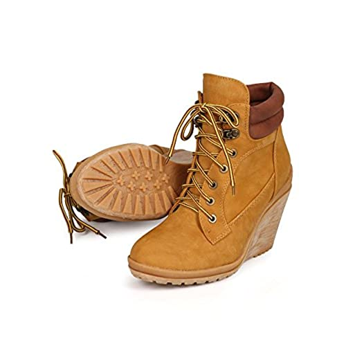 773a0707676d hot sale 2017 Liliana DK68 Women Leatherette Two Tone Lace Up Work Wedge  Bootie - Wheat