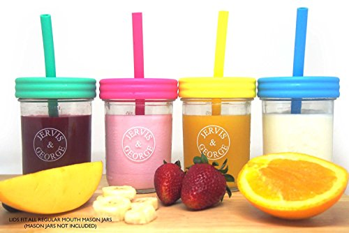 Regular Mouth Mason Jars Plastic Straw Lids + Silicone Straws + Cleaning Brush, Reusable, No Rust, Non Toxic, BPA Free, 8 Pack