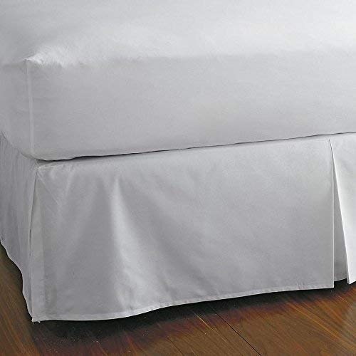 KP Linen King Size Split Corner Bed Skirt 15'' Inch Drop - 100% Egyptian Cotton Luxurious & Hypoallergenic Easy to Wash Wrinkle, (White, King Size Bed Skirt with 15 inch drop) ()