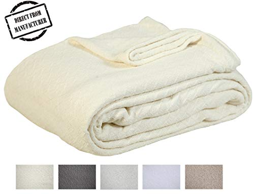 (Soft Premium Cotton Blanket - Twin size - Cozy Cotton Bed Blankets - All season- Oversized Throw Quilt - Perfect for layering- 66