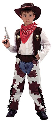Bristol Novelty CC657 Cowboy Cow Print Chaps Costume, White, Medium, Approx Age 5 - 7 Years, Cowboy (M).Cowprint Chaps
