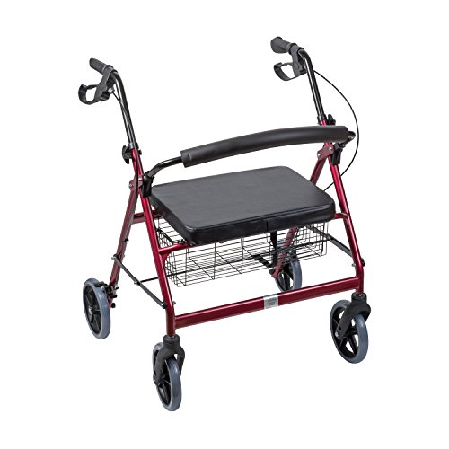 Duro-Med DMI Extra-Wide Heavy Duty Steel Bariatric Rollator Walker with Seat and Basket, Burgundy, Folding (Wheelchair Extra Bariatric Wide)