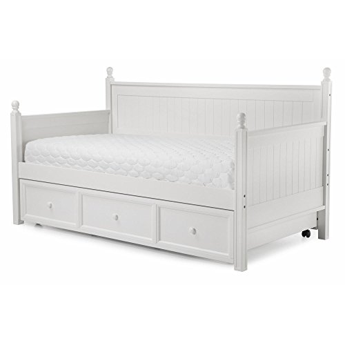 Casey II Wood Daybed with Ball Finials and Roll Out Trundle Drawer, White Finish, Twin White Finish Trundle