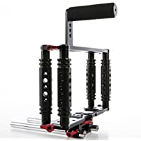 Kamerar TK-3 Aluminum DSLR Camera Cage Kit for Canon 5D mark II 7D 70D 60D w/15mm Rod RIG