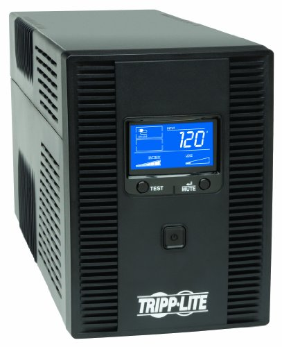 (Tripp Lite 1500VA 900W UPS Battery Back Up, AVR, LCD Display, Line-Interactive, 10 Outlets, 120V, USB, Tel & Coax Protection (SMART1500LCDT))