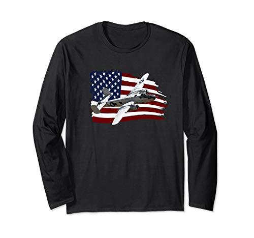 B-25 Mitchell Bomber Plane WW2 US FLAG Vintage Long Sleeve T-Shirt