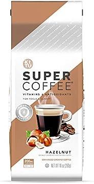 Kitu Super Coffee Grounds, Energy & Immunity (2x Caffeine, Vitamins, Antioxidants) [Hazelnut] 10 Oz, 1 Pac
