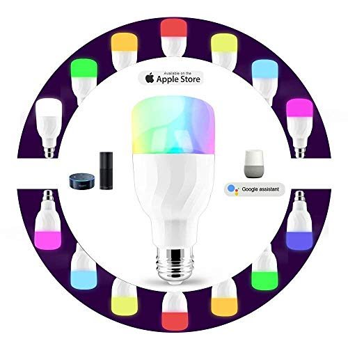 Wifi Led Light Bulb, Smart Dimmable Multicolored LED Bulbs Works with Amazon Alexa and Google Home, RGB Night Light and Soft White 5000K, E26/E27 Screw, Smart Phone Controlled Home Lighting by Cotify by Cotify