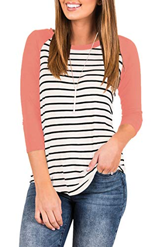 (INFITTY Women's Casual Striped Raglan 3/4 Sleeve T Shirt Round Neck Baseball Tunic Tops Blouse Coral Pink X-Large)