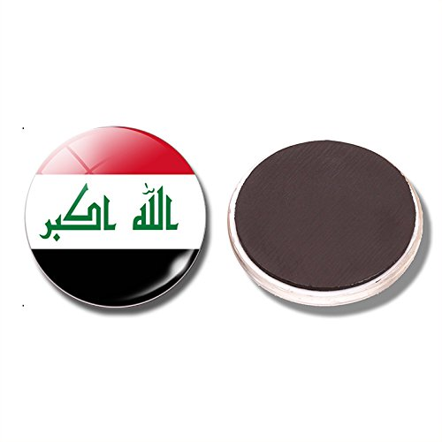 FunnyToday365 Republic Of Iraq Flag 30 Mm Fridge National Flag Of Iraq Glass Dome Refrigerator Stickers Note Holder Home (Iraq Note)