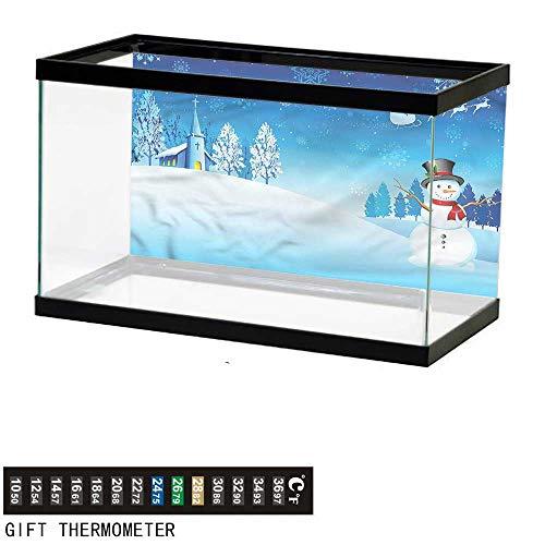 bybyhome Fish Tank Backdrop Christmas,Snowman Winter Stars,Aquarium Background,72