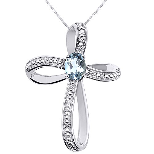 - Diamond & Aquamarine Cross Pendant Necklace Set In Sterling Silver .925