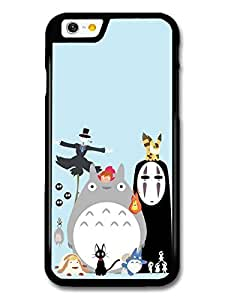 Miyazaki Animation Characters with Totoro No Face Calcifer Fire Illustration case for iPhone 6