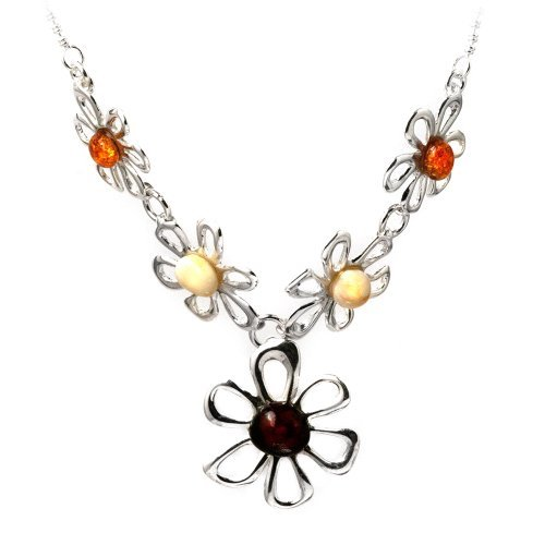 Sterling Silver Multicolor Amber Chamomile Flower Chain Necklace 17 Inches Graciana Amber by Graciana 40231
