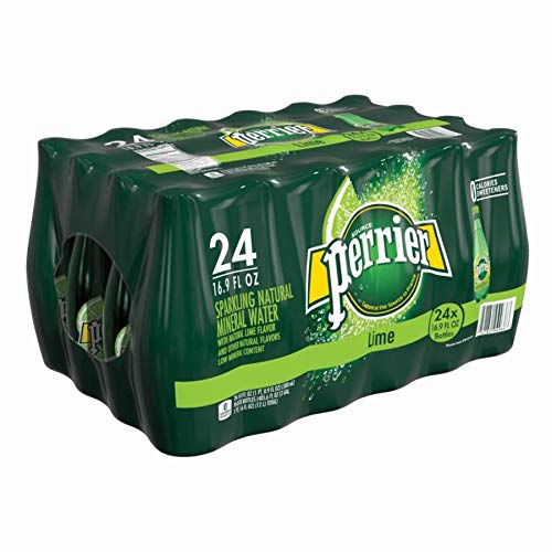 Perrier Flavored Sparkling Mineral Water, Lime, 16.9 Oz, Pack of 24 Bottles