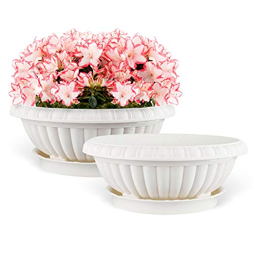 Mkono 2 Pack Plastic Planter Bowl 12 Inches Plant Pots with Saucers, Beige - Garden Planters Containers Urns