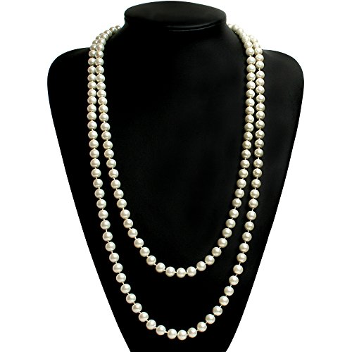 BABEYOND Art Deco Fashion Faux Pearls Necklace 1920s Flapper Beads Cluster Long Pearl Necklace for Gatsby Costume Party 59