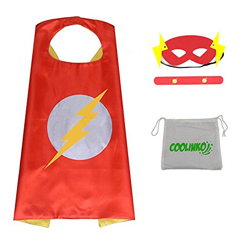 Superhero Cape, Mask and Slap Bracelet - Costume for Kids Birthday Party, Pretend Play, Dress up (Flash) -