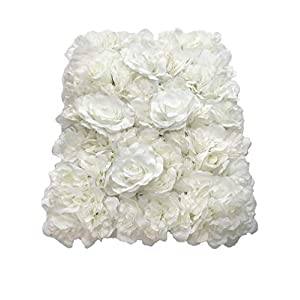 Blush Blooms Premium Decorative Flower Panels Handmade with Artificial Silk Flowers | Wall Decor, Flower Walls, Backdrops, Weddings, Bridal Showers, Baby Showers, and Event Decor (White) 105