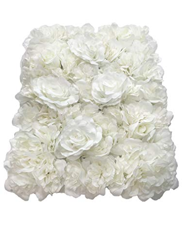 (Blush Blooms Premium Decorative Flower Panels Handmade with Artificial Silk Flowers | Wall Decor, Flower Walls, Backdrops, Weddings, Bridal Showers, Baby Showers, and Event Decor (White))