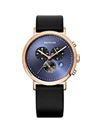 BERING Time Men's Classic Collection Watch with Leather Band and scratch resistant sapphire crystal. Designed in Denmark. 10540-567