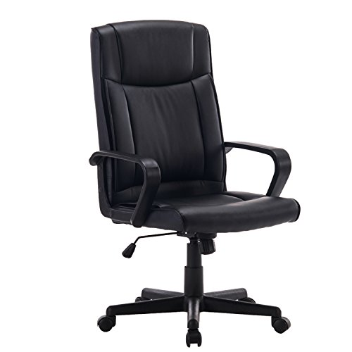 Office Desk Task Chair Adjustable Black Swivel PU Leather Ergonomic Executive Computer Chair With Arms