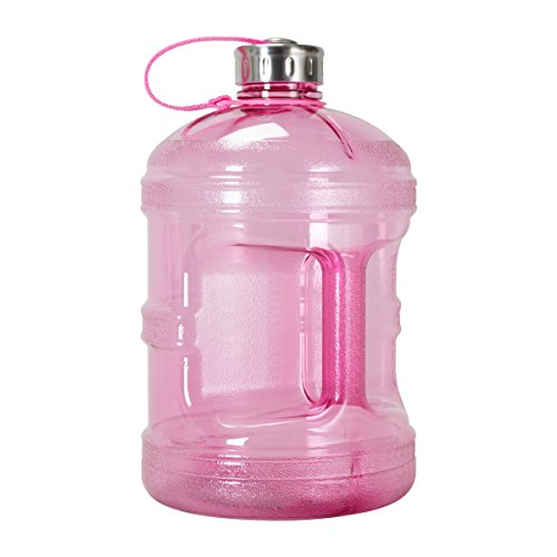 1 Gallon BPA FREE Reusable Plastic Drinking Water Bottle w/ Stainless Steel Cap (Pink)