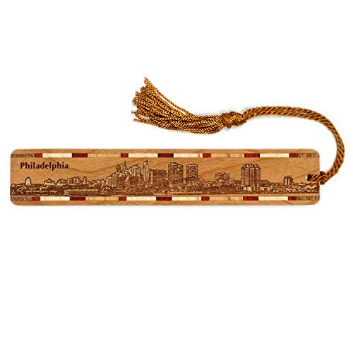 Philadelphia Pennsylvania Skyline Engraved Wooden Bookmark with Tassel - Personalized Version Also Available - Search B072M8NHSQ.