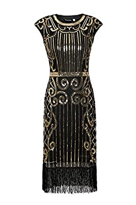 U.mslady Womens 1920s Crystal Sequin Vintage Fringe Cocktail Dress