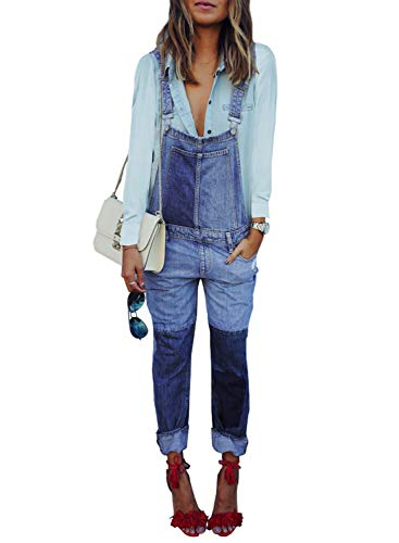 Aleumdr Womens Bib Pants Casual Chic Denim Patchwork Overall Distressed All Cotton Jeans for Women Size S Blue