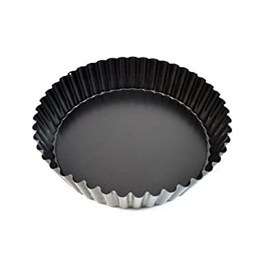 Paderno World Cuisine 9.5 Inch  Deep  Fluted Non-Stick Tart Mold with Removable Bottom
