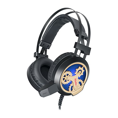 Mailin G891 Professional Gaming Headset for PS4 - PC - Xbox One Controller - Noise Cancelling Over Ear Headphones with Mic - LED Light - Bass Surround - Soft Memory Earmuffs for Laptop Mac - Black and Gold