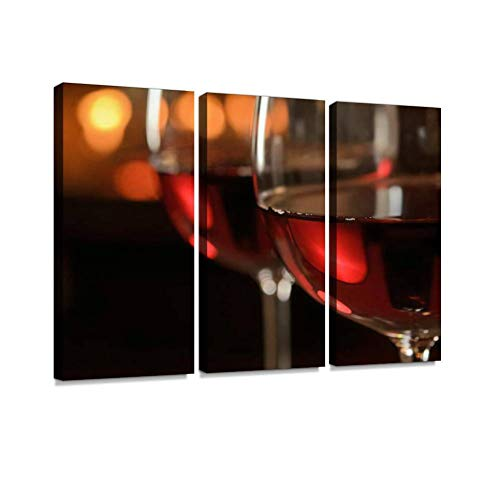 BELISIIS Red Wine by The Fire Wall Artwork Exclusive Photography Vintage Abstract Paintings Print on Canvas Home Decor Wall Art 3 Panels Framed Ready to Hang