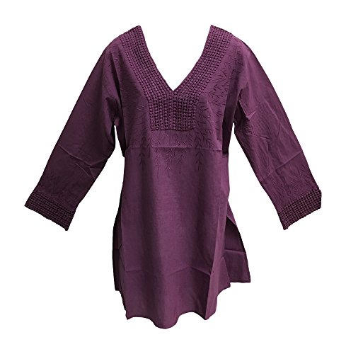 Women's Indian Cotton V-Neck Long Sleeve Embroidered Long Kurti Tunic Blouse (One Size Plus, Plum)