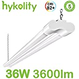 Hykolity 4FT 36W LED Shop Light with cord, 3600lm Hanging or FlushMount Garage Utility Light, 5000K Overhead Workbench Light, Light Weight, Shatter Proof 64w Fluorescent Fixture Replacement