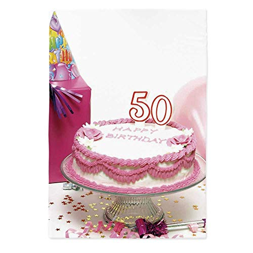 50th Birthday Decorations No Fading Tablecloth,Delicious Cake Golden Color Stars Party Hat Presents Special Day for Table Outdoor Picnic Holiday Dinner,60''W X 84''L