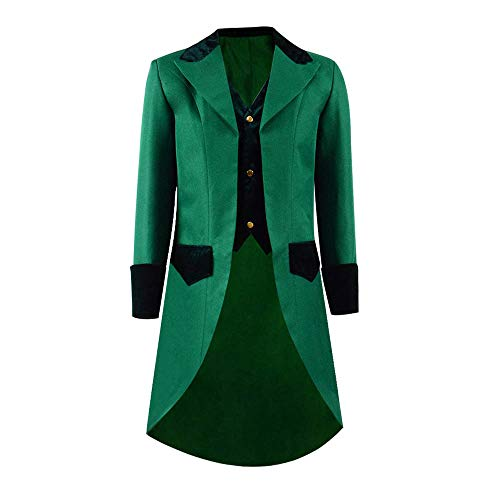COSSKY Boys Gothic Tailcoat Jacket Steampunk Long Coat Halloween Costume (Green(C), 14)