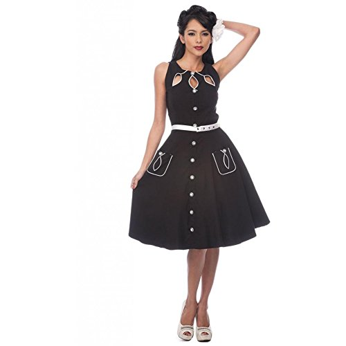 Womens-Voodoo-Vixen-Flared-Dress-With-Neckline-Cut-Out-Detail-Black