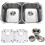 32 inch Undermount 50/50 Double Bowl 16 gauge Stainless Steel Kitchen Sink Proofing By Supersuper