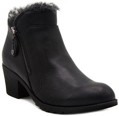 LONDON FOG Womens Hester Warm Lined Bootie Black 10 (Black Lined Ankle Cuff)