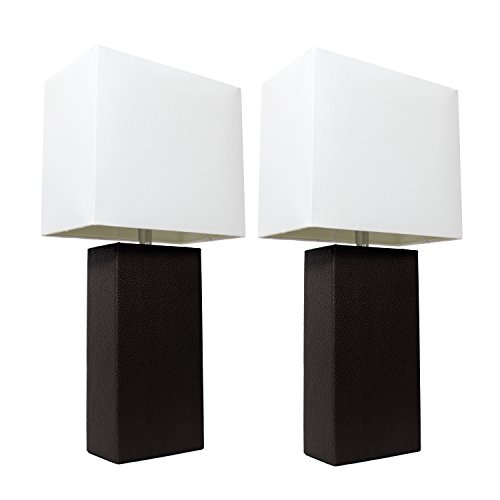Elegant Designs LC2000-BLK-2PK 2 Pack Modern Leather Table Lamps with White Fabric Shades, 3.9