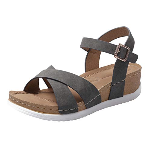 〓COOlCCI〓Women Front Criss Cross Belt Open Toe Ankle Strap Platform Wedge Sandals Dress Pump Leather High Heel Sandal Gray
