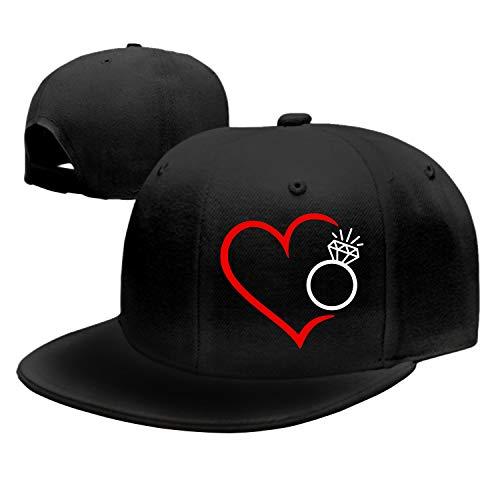 Herz Mit Diamantring in Rot Schwarz Denim Baseball Caps Hat Adjustable Cotton Sport Strap Cap for Men Women (Denim Schwarz)