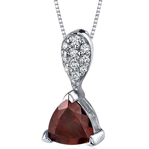 Necklace Garnet Trillion (Sleek Shimmer 1.50 carats Trillion Cut Sterling Silver Rhodium Nickel Finish Garnet Pendant)