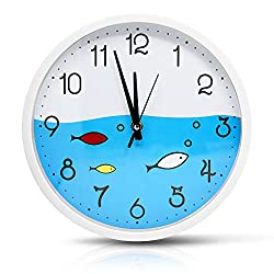Filota Colorful Kids Wall Clock 10 inch Silent Non-Ticking Quality Quartz Battery Operated Wall Clock, Easy to Read, White Frame - Ocean Fish