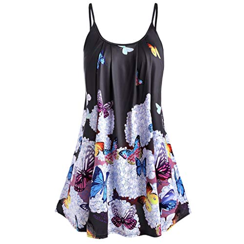 ♛HebeTop♛ Women Summer Sleeveless Beach Printed Short Mini Dress Black