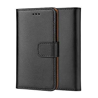timeless design 3524c 099ea Ameego MK-209 Premium Genuine iPhone 6 Plus/7 Plus/8 Plus Real Leather Flip  Wallet Magnetic Kickstand Slim Book Case with Card Slot + Free Screen ...