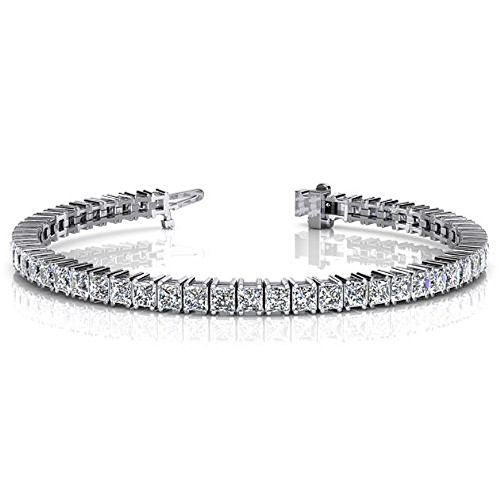 18K White Gold Diamond Princess Cut 4 Prong Set Tennis Bracelet (9.35ctw.) - Size 7